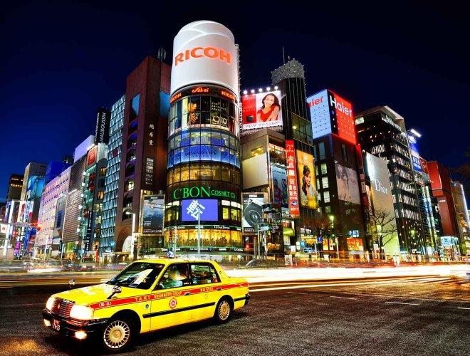 ciudad de taxi amarillo de tokio