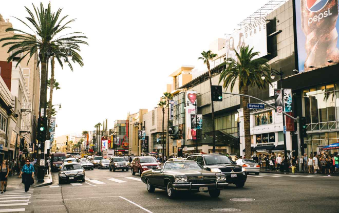Boulevard de Hollywood al atardecer