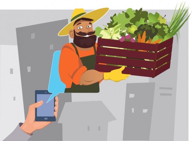 Entrega de alimentos en línea desde la tienda de comestibles del hogar