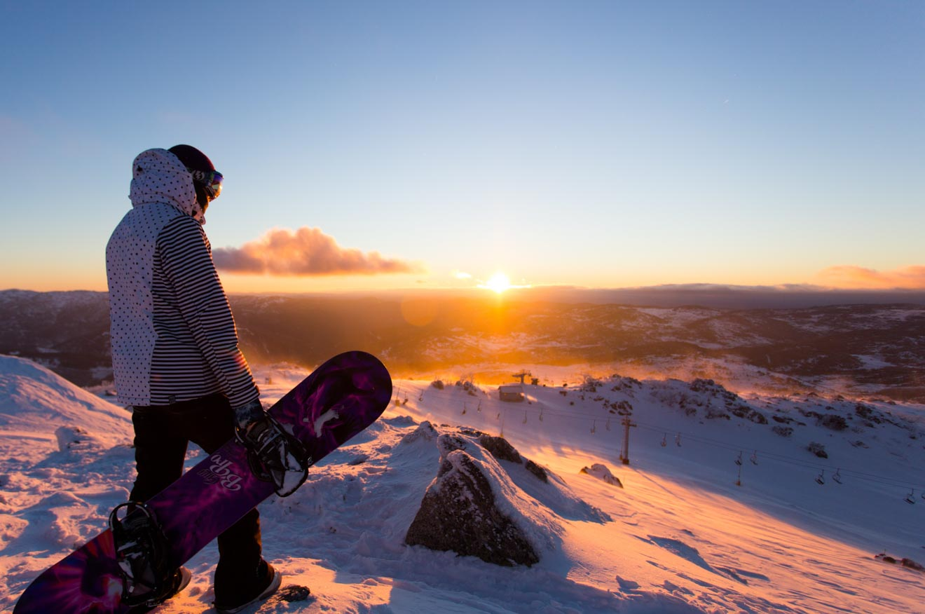 Amanecer en Blue Cow, Snowboard Perisher Snowy Mountains