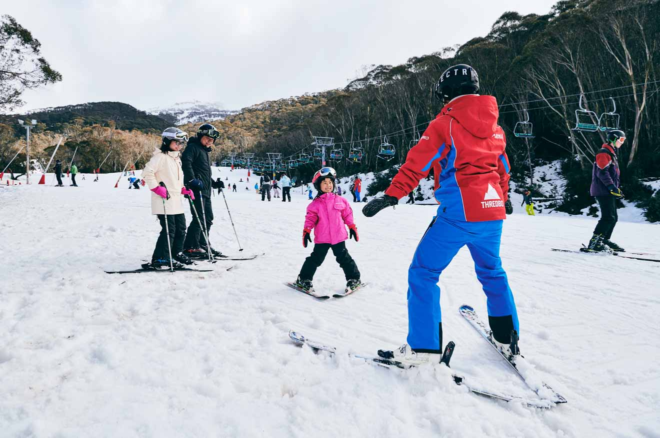 Lección privada de Thredbo en las montañas nevadas