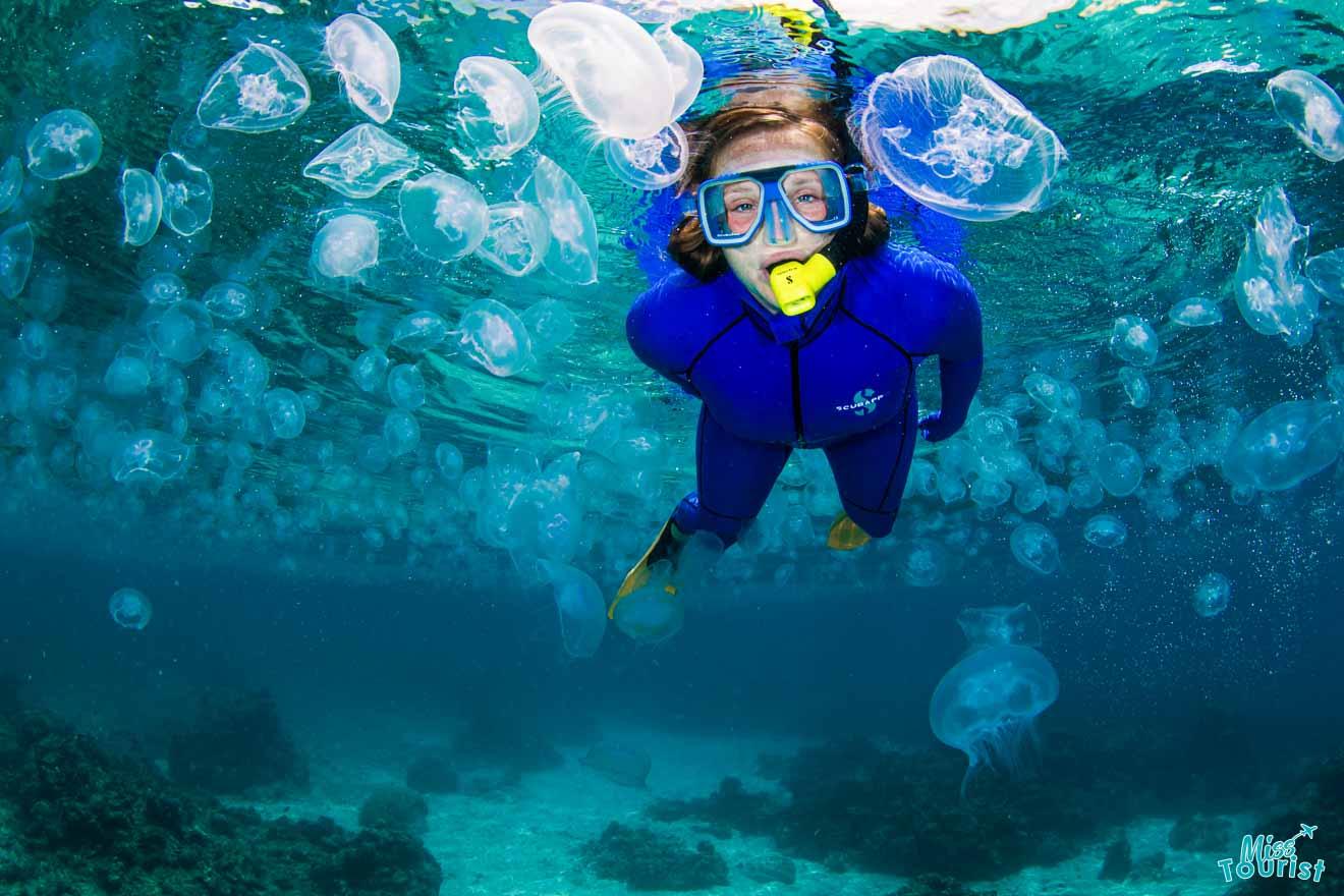 una mujer que se zambulle en el gran arrecife de coral de hervey bay