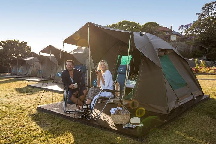 Camping abierto de la tienda Cockatoo Island