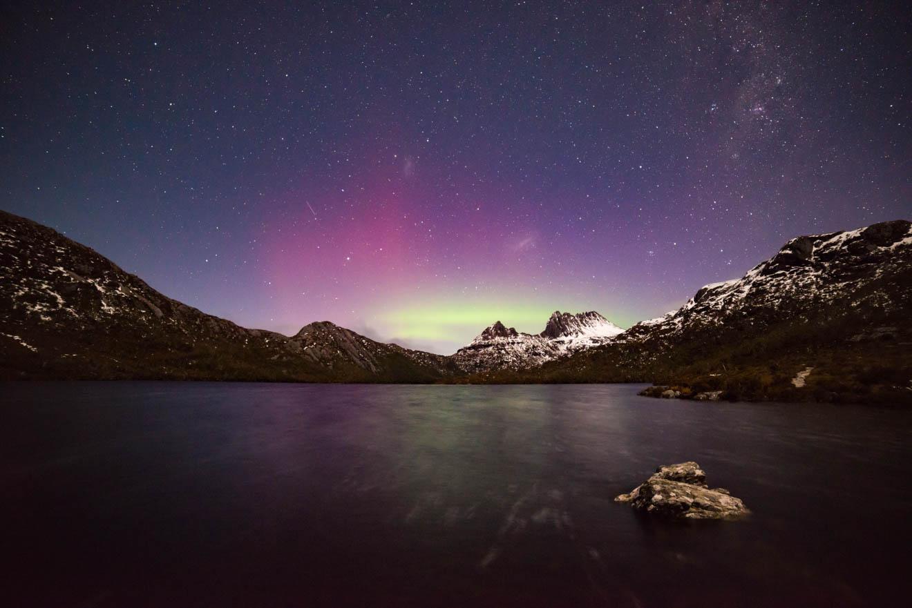 Aurora Australis en Cradle Mountain Overland track View