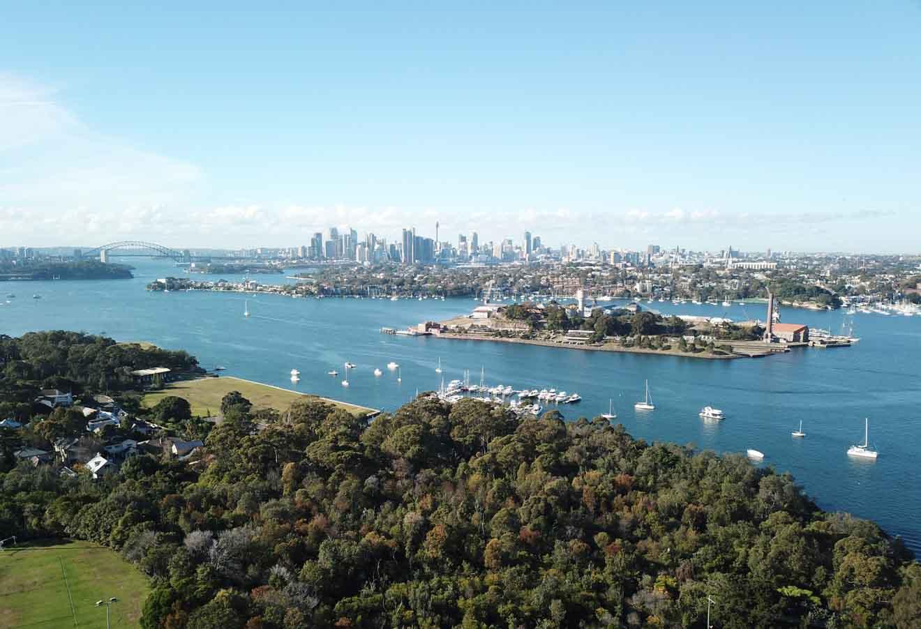 Vista aérea de la isla Cockatoo, Sydney Tour