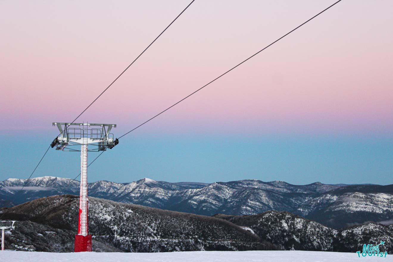 lugares para visitar en Victoria - Buller cielo rosa Mt Buller o Mt Hotham