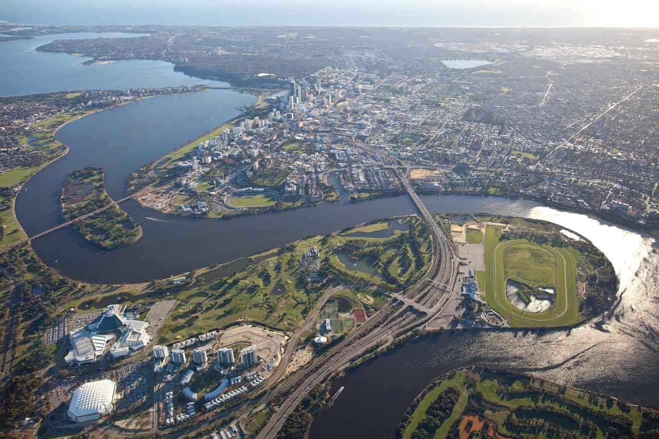 Las mejores cosas gratis que hacer en Perth y sus alrededores: vista aérea de Perth