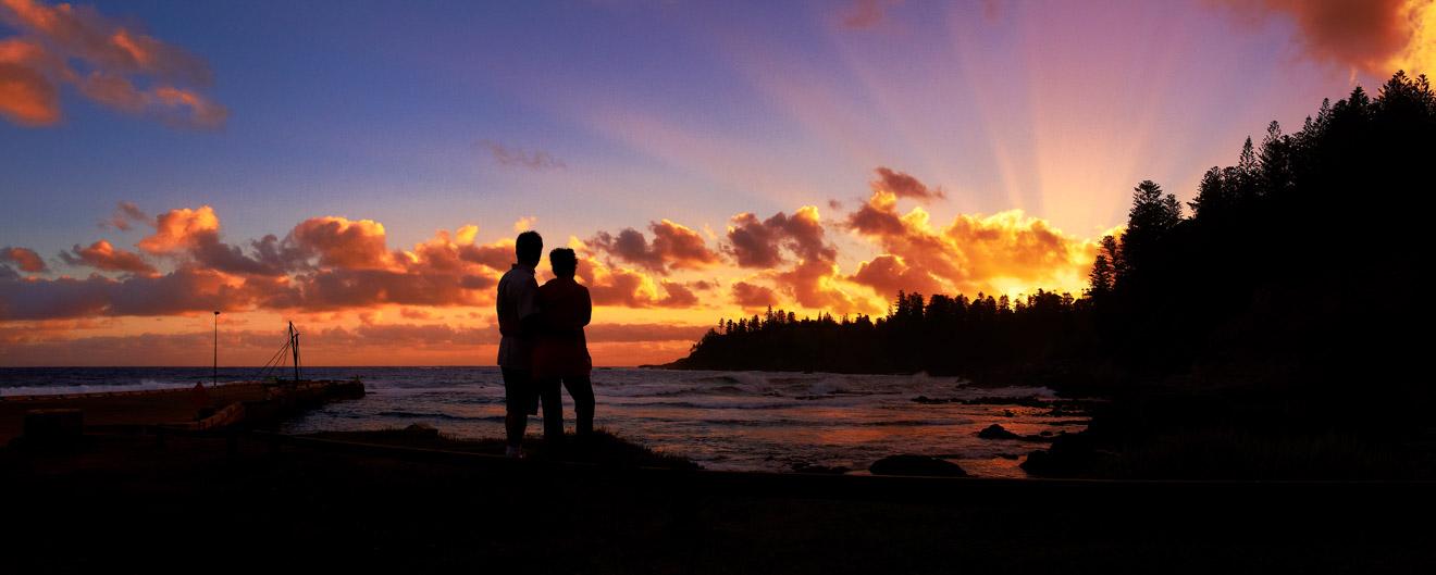Puesta de sol romántica en la isla de Kingston Pier Norfolk Puesta de sol romántica Qué hacer